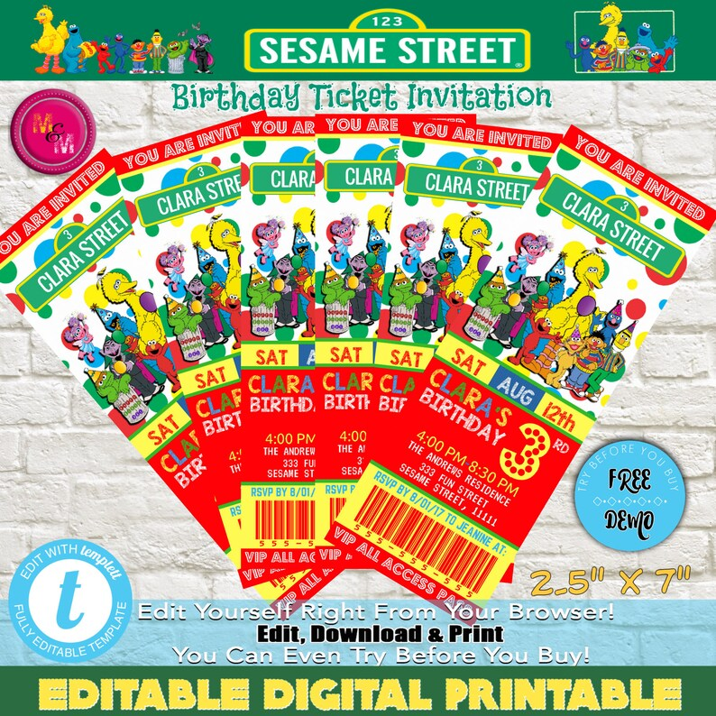 Sesame Street Birthday Party Ticket Invitation Printable