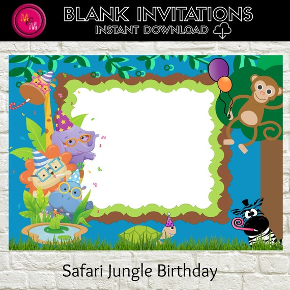 Safari Jungle Birthday Invitation Blank-Instant Download