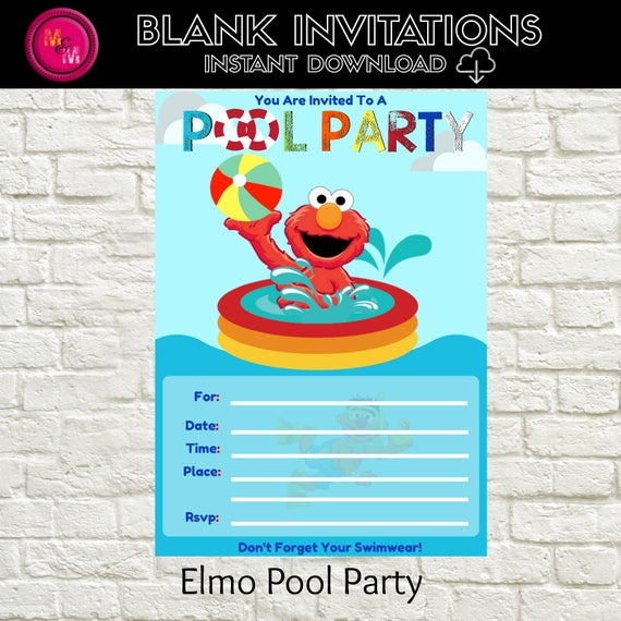 elmo pool party invitation blank instant download template etsy