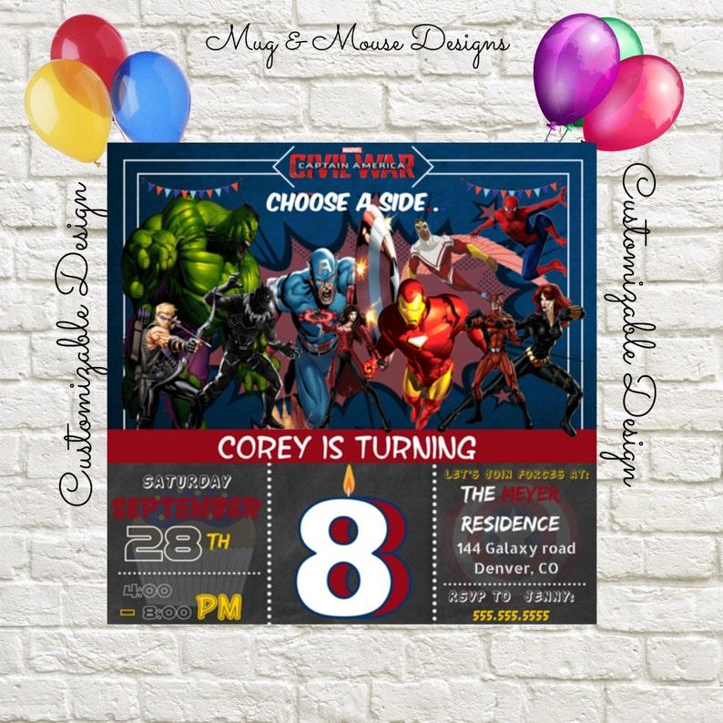 Captain America Civil War Birthday Invitation Printable