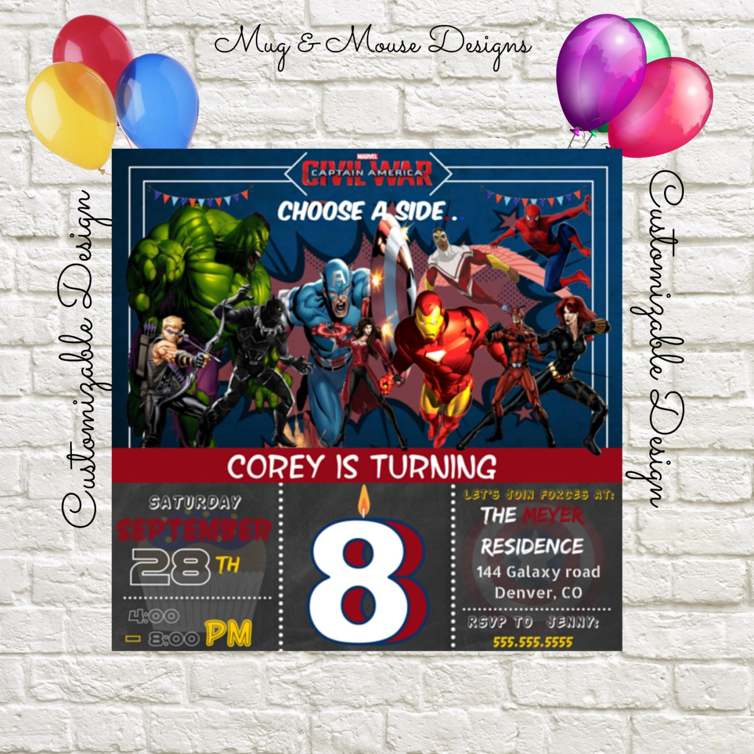 Captain America Civil War Birthday Invitation Printable