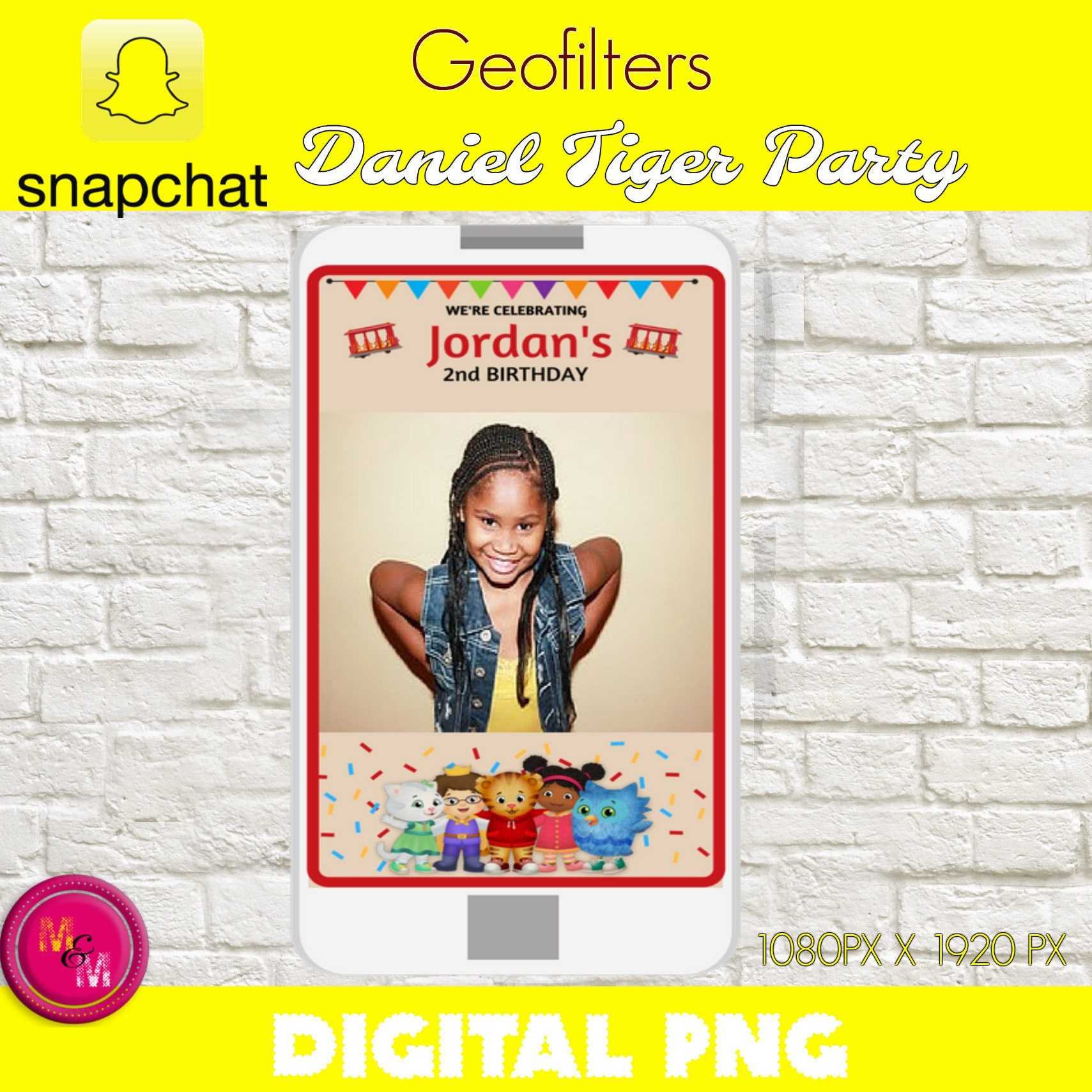 Snapchat Geofilter Daniel Tiger Birthday Party Snapchat | Etsy