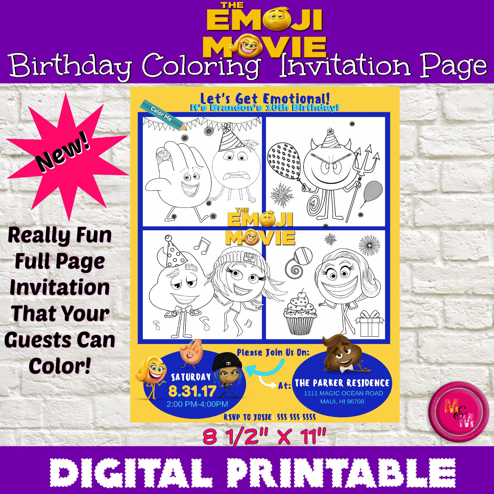 Personalized Emoji Movie Invitation Printable