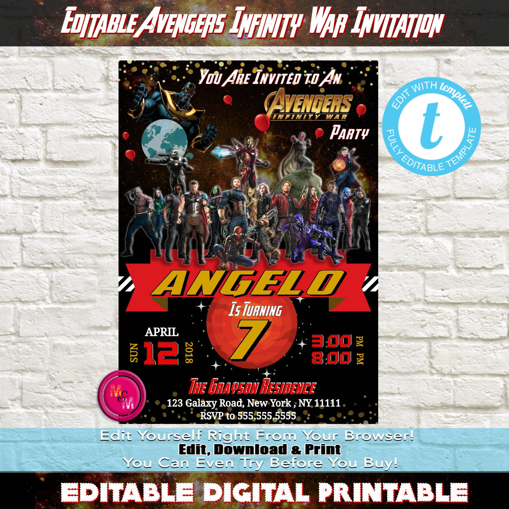 Editable Avengers Infinity War Birthday Party Invitation