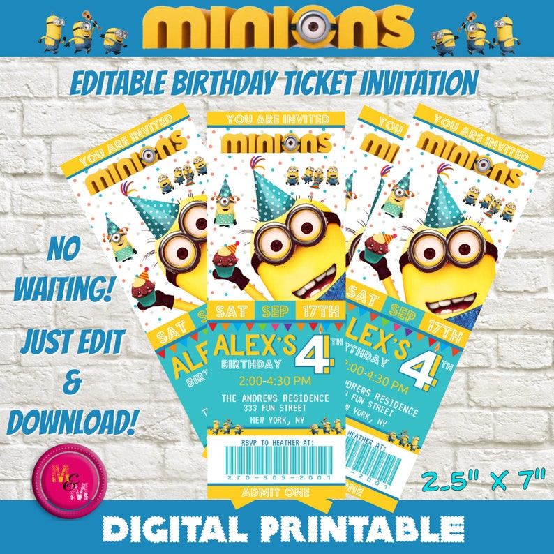 Editable Minions Birthday Party Ticket Invitation Printable
