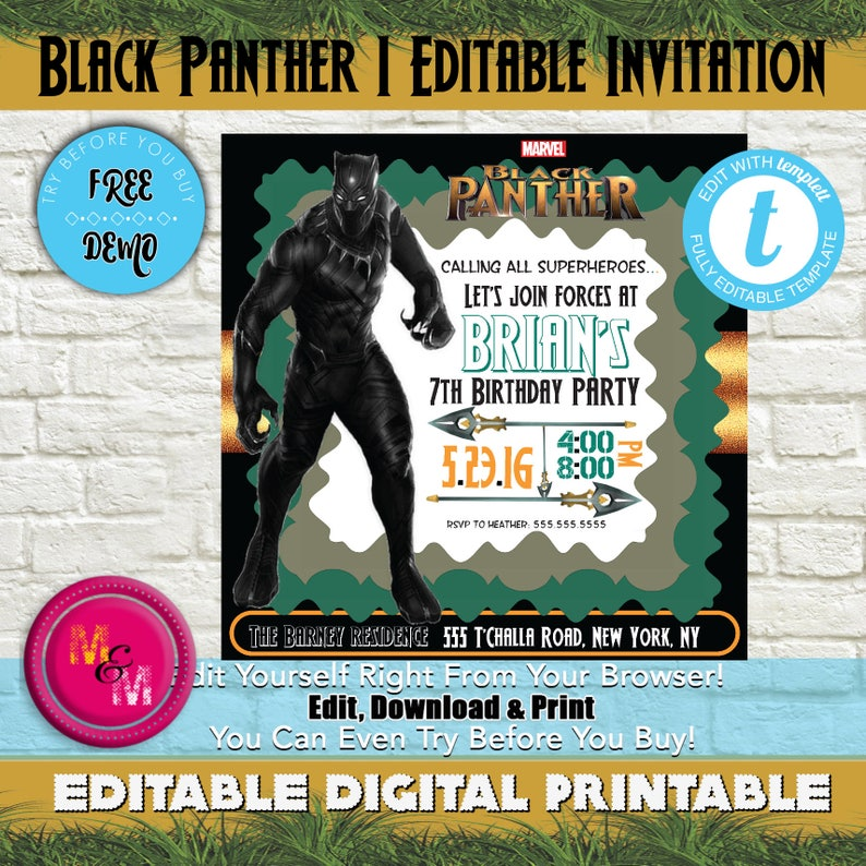 Editable Black Panther Birthday Party Scallop Invitation
