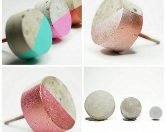 Concrete Round Cabinet Knob in 3 sizes. Natural Grey or a variety of colours