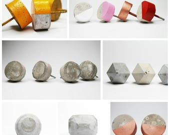 OUTLET whitewashed. Concrete cabinet knob natural or colours with DEFECT