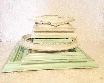 collage frames-frames-white frames-mint frames-green frames-wall art frames-shabby chic frames-cottage chic frames-vintage frames-framing