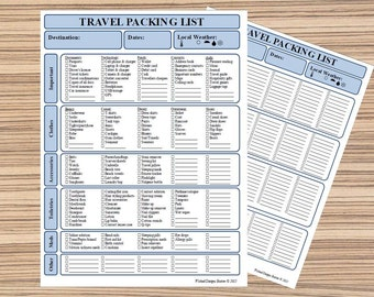 Packing List Travel Checklist Planner Vacation Printable Trip Pack T2
