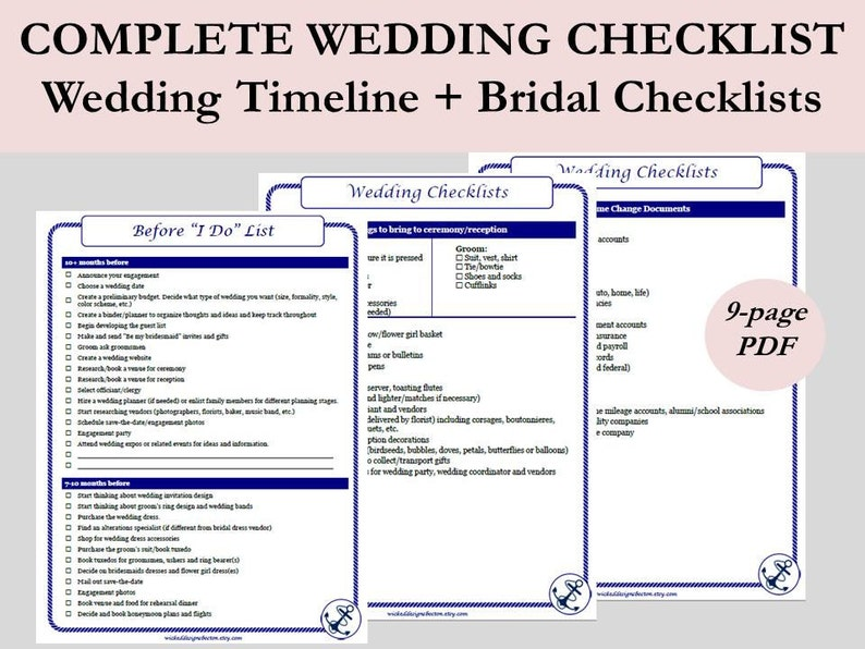 Nautical Wedding Timeline Printable Wedding To Do Lists Etsy