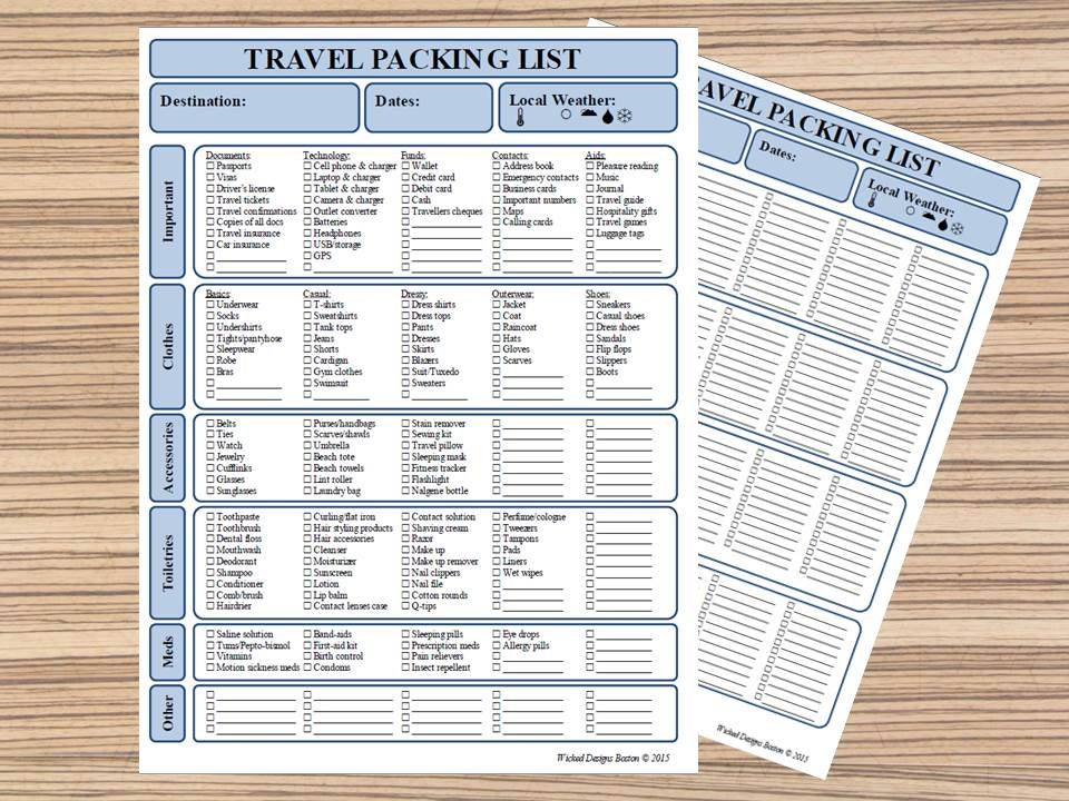 Travel Packing List PDF Printable