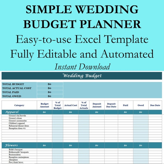Wedding Budget Planner Excel Workbook Template Wedding Planning Spreadsheet For Expenses Tracking And Spending Easy To Use Fully Editable