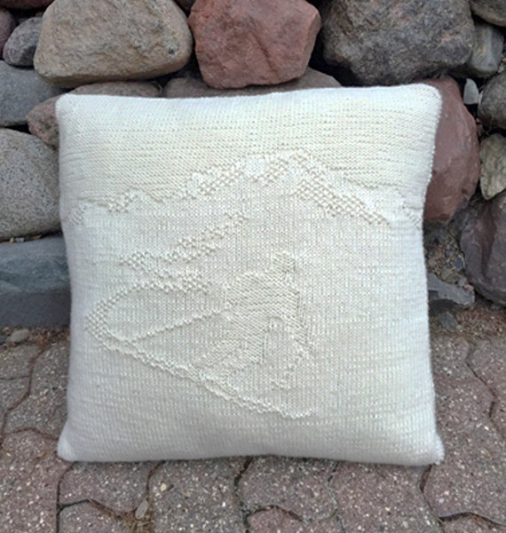Skier Knitted Pillow Pattern Etsy