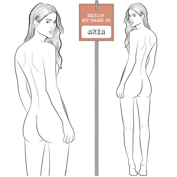 Realistic Runway Ready Fashion Croquis Template Aria Back Etsy