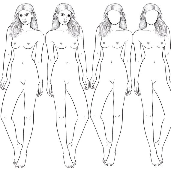 Realistic Runway Ready Fashion Croquis Template Harmony Casual Hip Pose