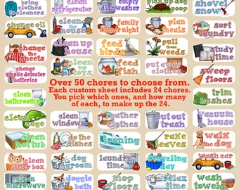 Household Chores stickers - Customized sheets! Over 50 choices - for use with Erin Condren Happy Planner - cleaning laundry