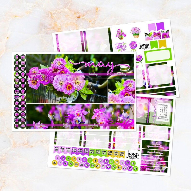 53a403e821 May Flower Power monthly view spread - Happy Planner classic & Erin Condren  Vertical Horizontal Recollection stickers - spring pink purple