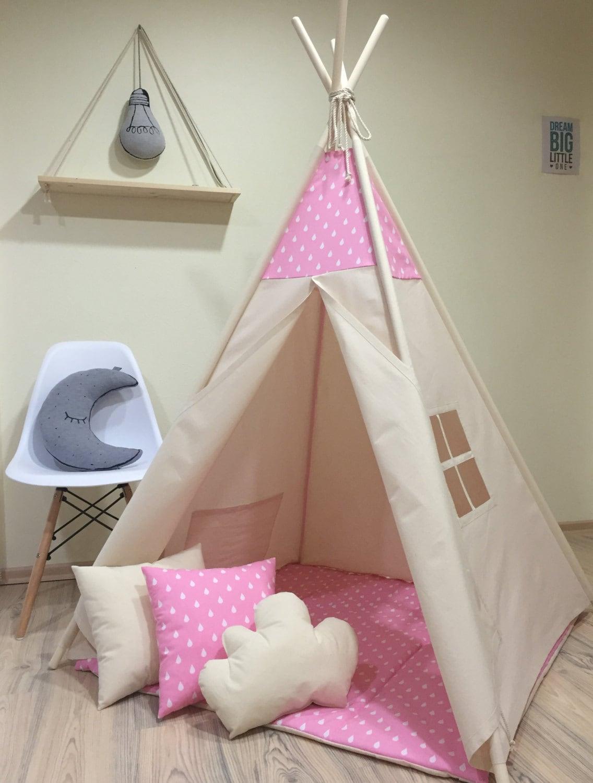 tente jeu de gouttes rose enfants tipi naturel toile uni. Black Bedroom Furniture Sets. Home Design Ideas