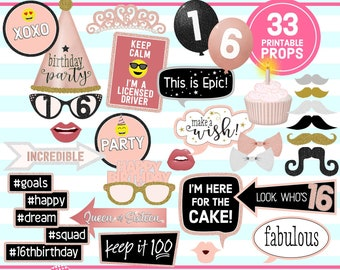 16th BIRTHDAY, Photo Booth Props, Rose Gold 16th Birthday Party, 16th Birthday Party Idea, Sweet 16, printable props, instant download