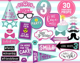 3rd Birthday Printable, PHOTO BOOTH PROPS, Pink, Purple, Turquoise, 3rd Birthday Party, birthday props, selfie props, instant download