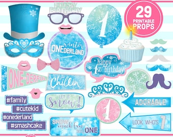 Winter ONEderland, PHOTO BOOTH PROPS, 1st Birthday Printable, 1st Birthday Party, birthday props, digital download, instant download, pdf