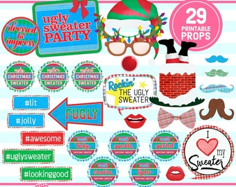 UGLY SWEATER PARTY, Photo Booth Props, Christmas party, Holiday party, Ugly Sweater Photo, party printable, instant download
