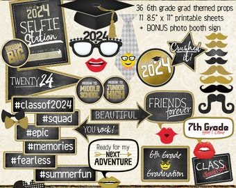 photo booth props class of 2024 6th grade graduation party upper elementary 6th grade selfie station black gold printable - 6th Grade Graduation Certificate Template