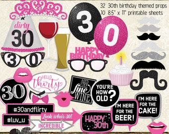 30TH BIRTHDAY Photo Booth Props Hot Pink Black Silver Birthday Party Printable Sheets Instant Download