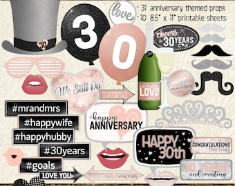30TH ANNIVERSARY, Photo Booth Props, anniversary party, black, silver, rose gold, pink, selfie station, printable, instant download