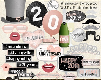 Photo Booth Props, HAPPY 20TH ANNIVERSARY, party, black, silver, rose gold, pink, selfie station, printable sheets, instant download