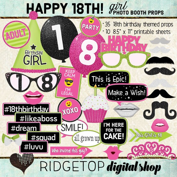 18th Birthday Photo Booth Props Girl Birthday Party Hot Etsy