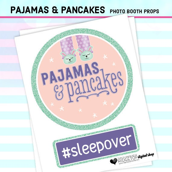sleepover party instant download pancakes and pj/'s Photo Booth Props printable props selfie station PAJAMAS AND PANCAKES