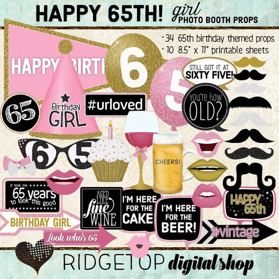 Photo Booth Props HAPPY 65TH BIRTHDAY Girl Pink Gold Printable Sheets Instant Download Selfie Station