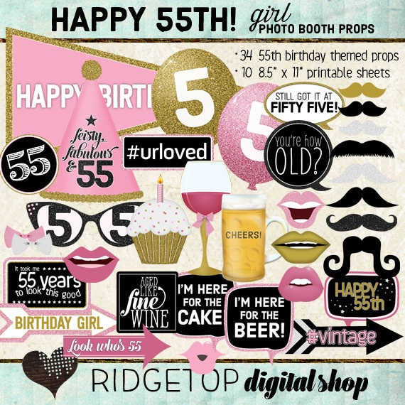 Photo Booth Props HAPPY 55TH BIRTHDAY Girl Pink Gold