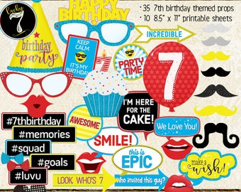Photo Booth Props, HAPPY 7TH BIRTHDAY, boy, girl, selfie station, birthday party, red, blue, yellow, printable sheets, instant download