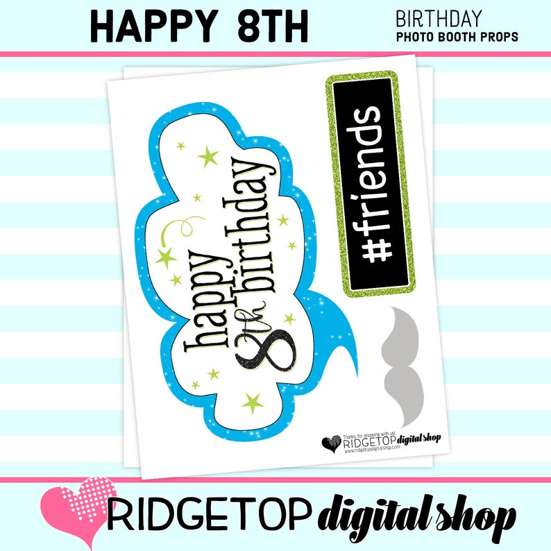 8th Birthday digital download party printable birthday props PHOTO BOOTH PROPS 8th Birthday Party Blue Lime Green instant download