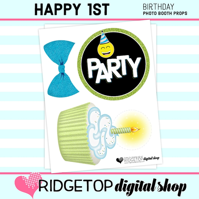 Lime Green birthday props instant download PHOTO BOOTH PROPS selfie digital download 1st Birthday Printable Blue 1st Birthday Party