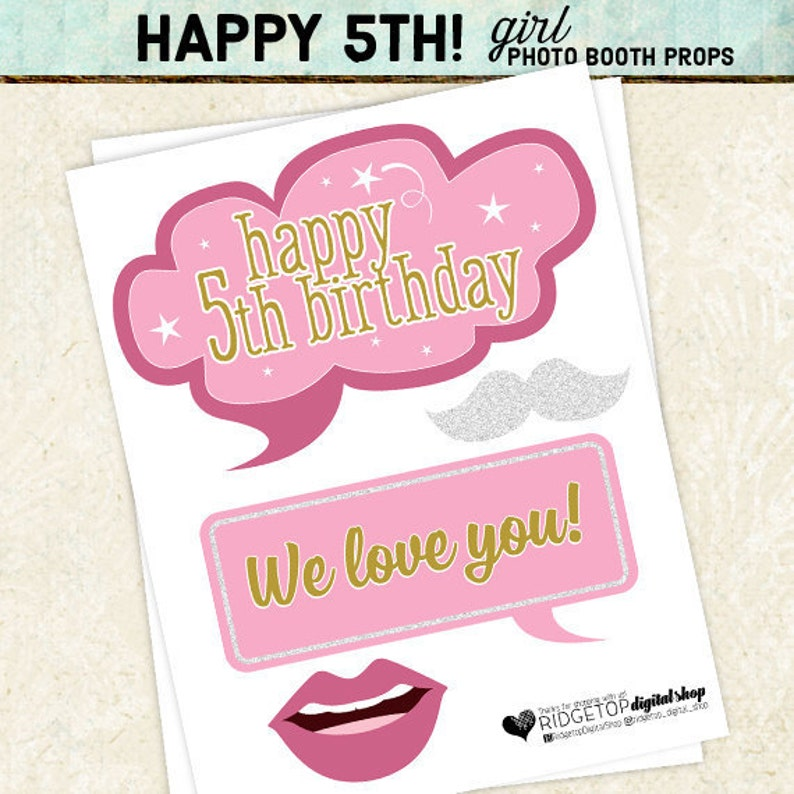Photo Booth Props Happy 5th Birthday Girl Printable Sheets Instant Download Diy Party Planning Pink Gold White
