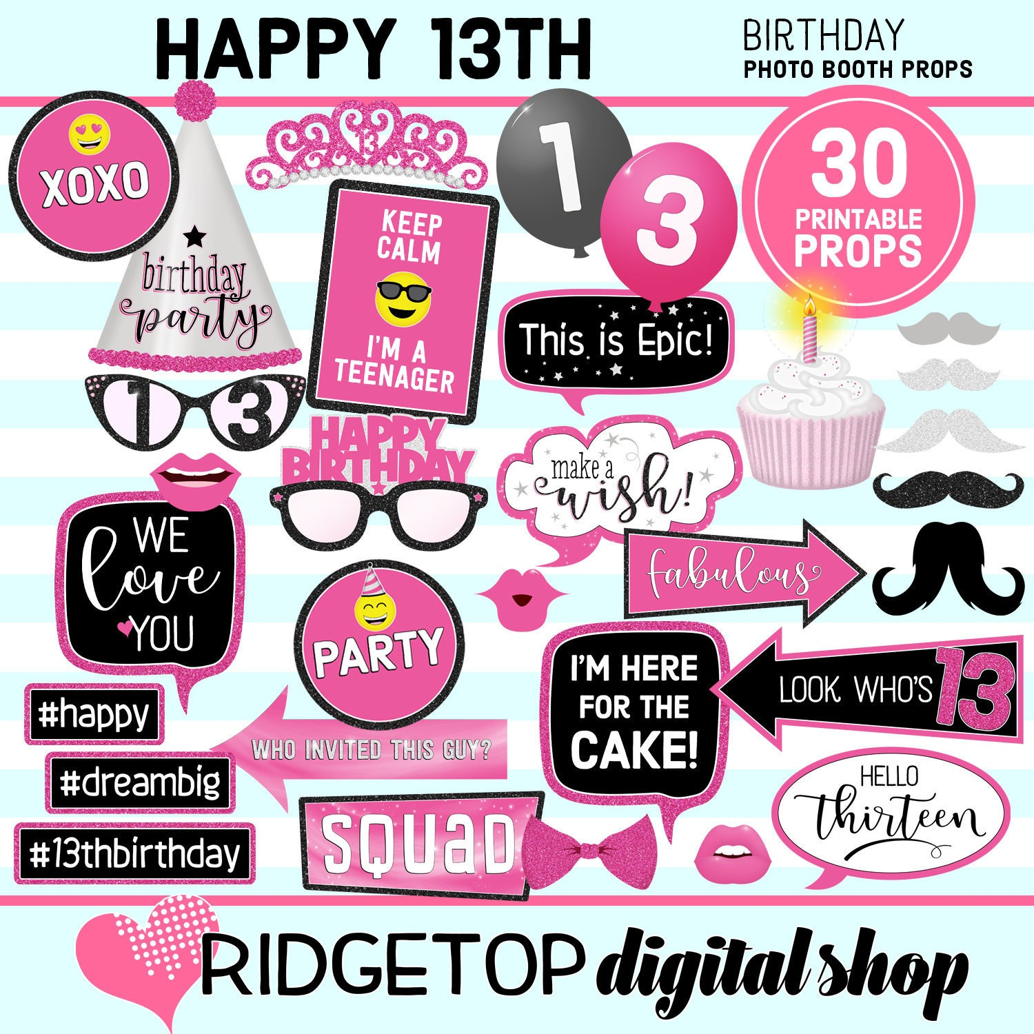 13th Birthday Printable Photo Booth Props Pink Black Silver Etsy