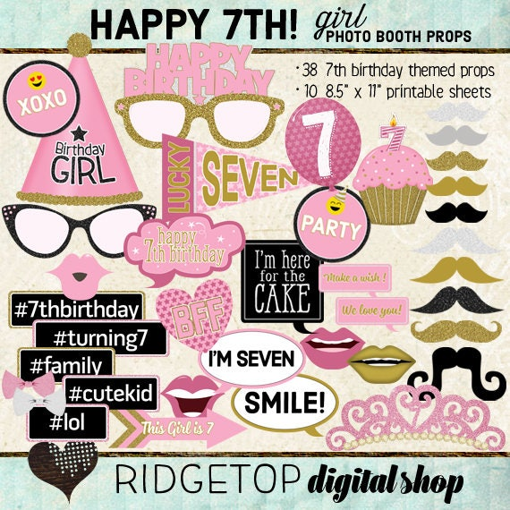 Photo Booth Props HAPPY 7TH BIRTHDAY Party Girl Printable