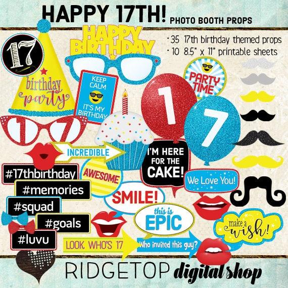 Photo Booth Props Happy 17th Birthday Boy Girl Selfie Etsy