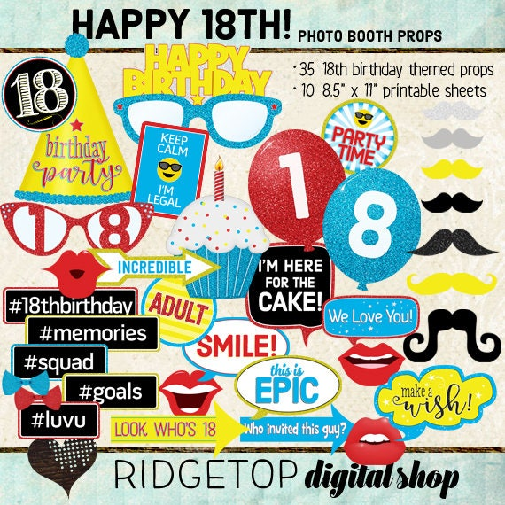 Photo Booth Props Happy 18th Birthday Boy Girl Selfie Etsy