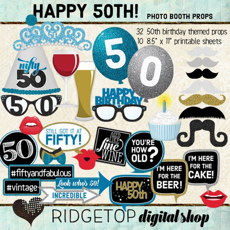 Photo Booth Props HAPPY 50TH BIRTHDAY Selfie Station Blue