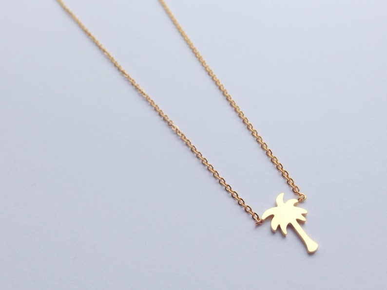 5ffcc2aaf9b Gold palm tree necklace palmtree cute palm tree necklace   Etsy