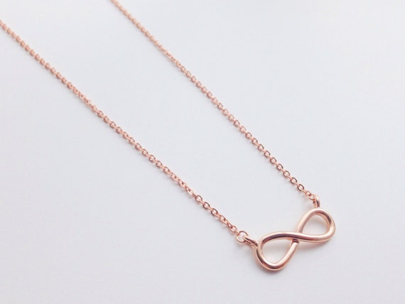 Rose Gold Infinity Necklace Pendant Necklace Simple Etsy