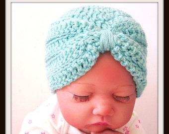 Baby Turban Crochet Pattern, Baby Hat, Photo Prop, Newborn Hat, Newborn Girl Hat, Preemie, Easy Crochet, pdf Pattern, Baby Shower Gift