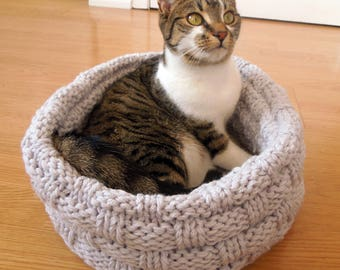 Cat Bed Knitting Pattern, Pet Bed, Dog Bed, Wool Cat Bed, Chunky Wool Cat Bed, Cat Basket, Wool Pet Bed, Cat Lover Gift, pdf Pattern