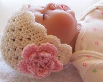 Baby Hat with Flower Crochet Pattern, Crochet Hat Pattern, Crochet Baby Hat, Newborn Hat Pattern, Crochet Beanie, Easy Crochet Pattern
