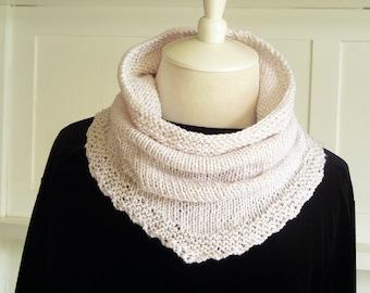 Knitting PATTERN - Kerchief Scarf, Cowl Pattern, Knit Kerchief, Bandana Scarf, Knit Cowl Pattern, Easy Scarf Pattern, Knitted Kerchief
